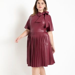 ELOQUII Faux Leather Tie Neck Dress 16 NEW